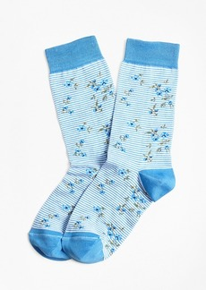 Brooks Brothers Striped Floral Stretch-Cotton Socks