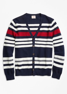 Brooks Brothers Striped Pique Cardigan