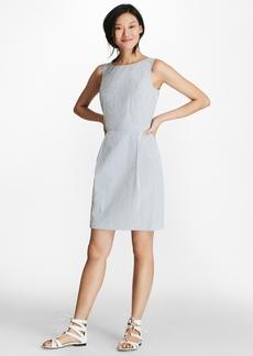 Brooks Brothers Striped Stretch Cotton Seersucker Sheath Dress