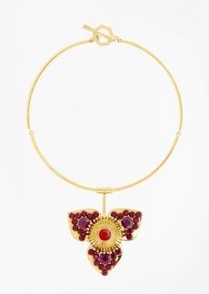 Brooks Brothers Swarovski Crystal Floral Pendant Necklace