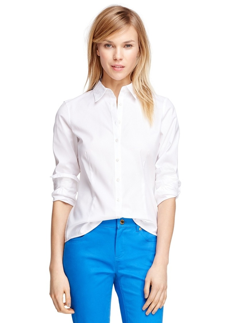 Brooks brothers tailored fit cotton dress shirt dress shirts for Tailor dress shirt cost