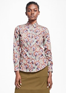Brooks Brothers Tailored-Fit Floral Cotton Sateen Blouse