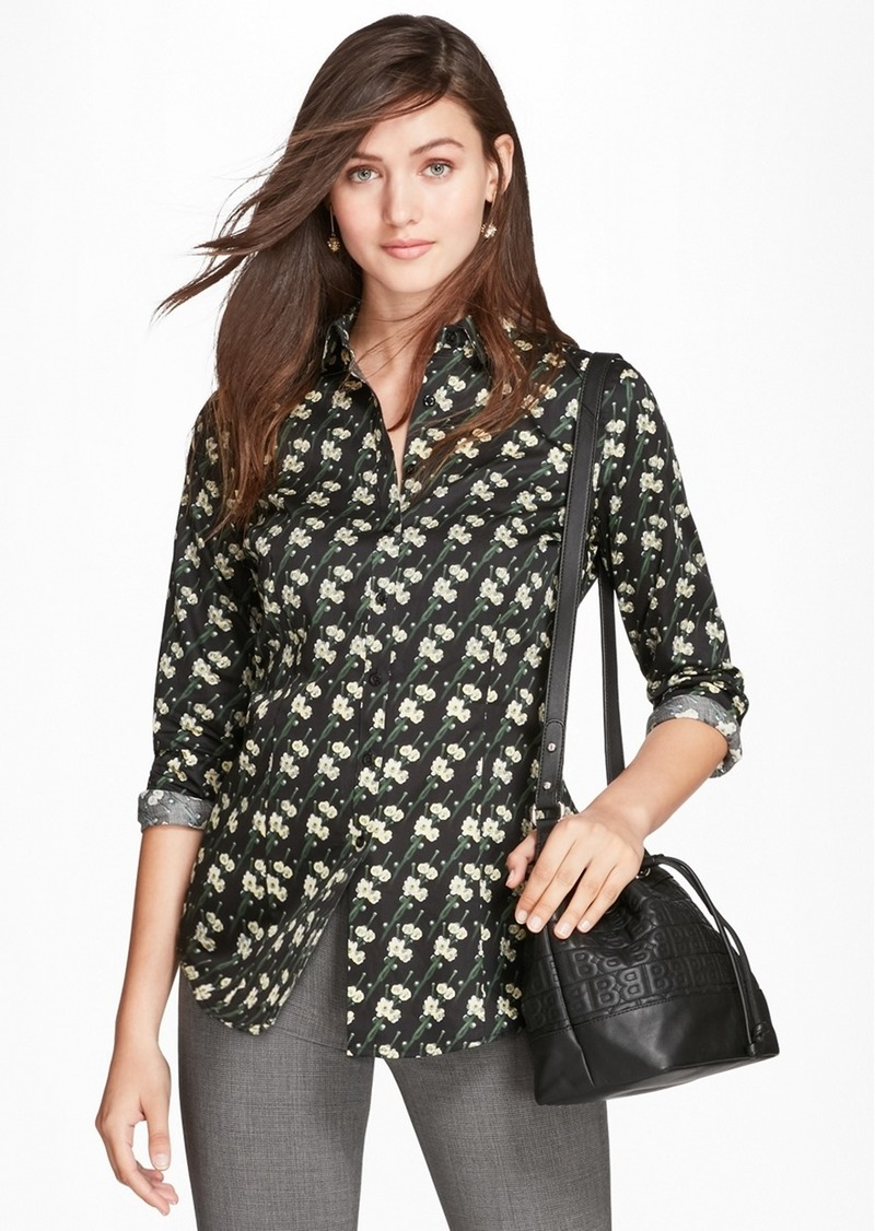 f7f1e846e39a2 Brooks Brothers Tailored-Fit Snow Blossom-Print Cotton Sateen Shirt ...