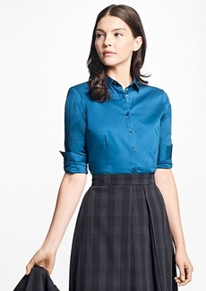 Brooks Brothers Tailored-Fit Stretch-Cotton Blouse
