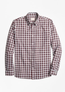 Brooks Brothers Tartan Cotton Basketweave Oxford Sport Shirt