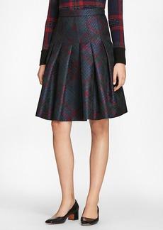 Brooks Brothers Tartan Sparkle Jacquard Pleated Skirt