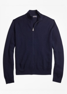 Brooks Brothers Textured Merino Wool Full-Zip Sweater