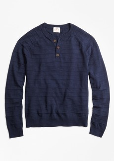 Brooks Brothers Textured-Stripe Cotton-Linen Henley Sweater