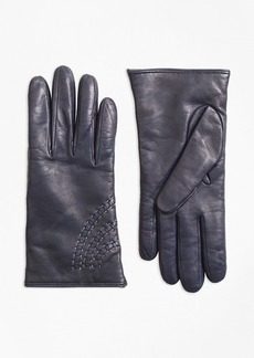 Brooks Brothers Topstitched Cashmere-Lined Leather Gloves