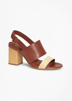 Brooks Brothers Two-Tone Leather Block-Heel Sandals