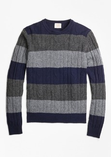 Brooks Brothers Wide-Stripe Cable Crewneck Sweater