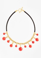 Brooks Brothers Gold-Plated Coral Sphere-Drop Leather Necklace
