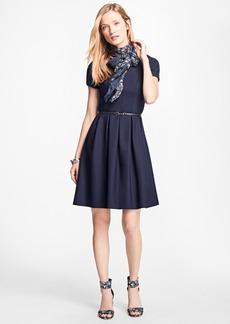 Brooks Brothers Stretch Wool-Twill Pleated Dress