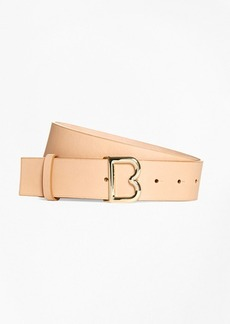 "Brooks Brothers 1½"" Wide Leather ""B"" Buckle Belt"