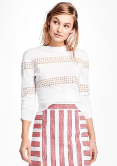 Brooks Brothers Eyelet-Striped Cotton Sweater