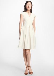 Brooks Brothers Pleated Stretch-Cotton V-Neck Dress