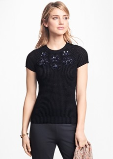 Brooks Brothers Floral-Embellished Raglan Sweater