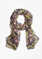 Brooks Brothers Floral Silk Chiffon Scarf with Ribbon