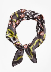 Brooks Brothers Floral Silk Twill Square Scarf with Ribbon