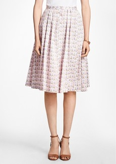 Brooks Brothers Floral Cotton-Sateen Pleated Skirt