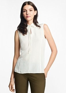 Brooks Brothers Silk-Blend Tie-Neck Blouse
