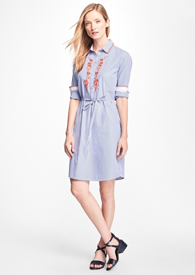63691f4bb6d Brooks Brothers Cotton-Poplin Embroidered Shirtdress