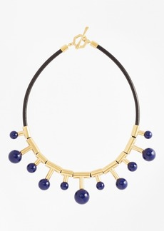Brooks Brothers Gold-Plated Sphere-Drop Leather Necklace