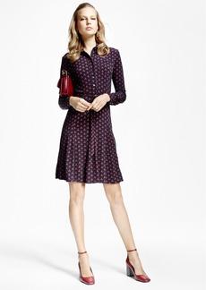 Brooks Brothers Printed Jersey-Knit Shirt Dress