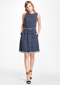 Brooks Brothers Floral-Embroidered Cotton Dress