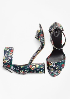 Brooks Brothers Floral Ankle-Strap Stacked-Heel Sandals