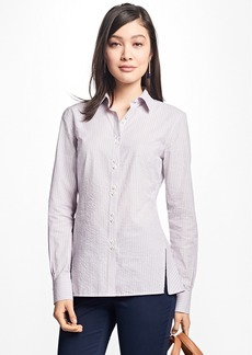 Brooks Brothers Striped Cotton Seersucker Blouse