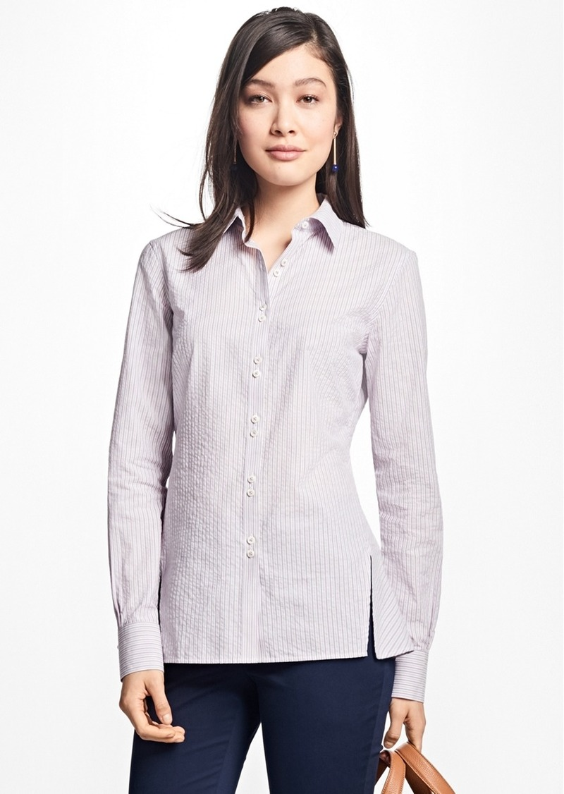 35cf0075810a1 Brooks Brothers Striped Cotton Seersucker Blouse
