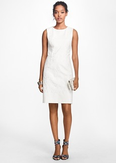 Brooks Brothers Sleeveless Floral-Embroidered Shift Dress
