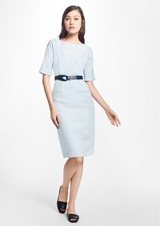 Brooks Brothers Cord-Embroidered Linen Sheath Dress
