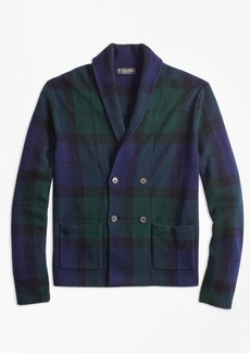 Brooks Brothers Wool and Cashmere Black Watch Cardigan