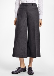 Brooks Brothers Wool-Blend Flannel Wide-Leg Culottes