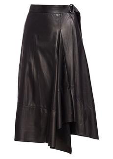 Brunello Cucinelli Asymmetric Leather Wrap Skirt