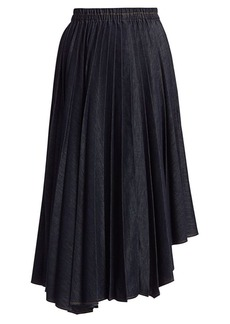 Brunello Cucinelli Asymmetric Pleated Denim Skirt