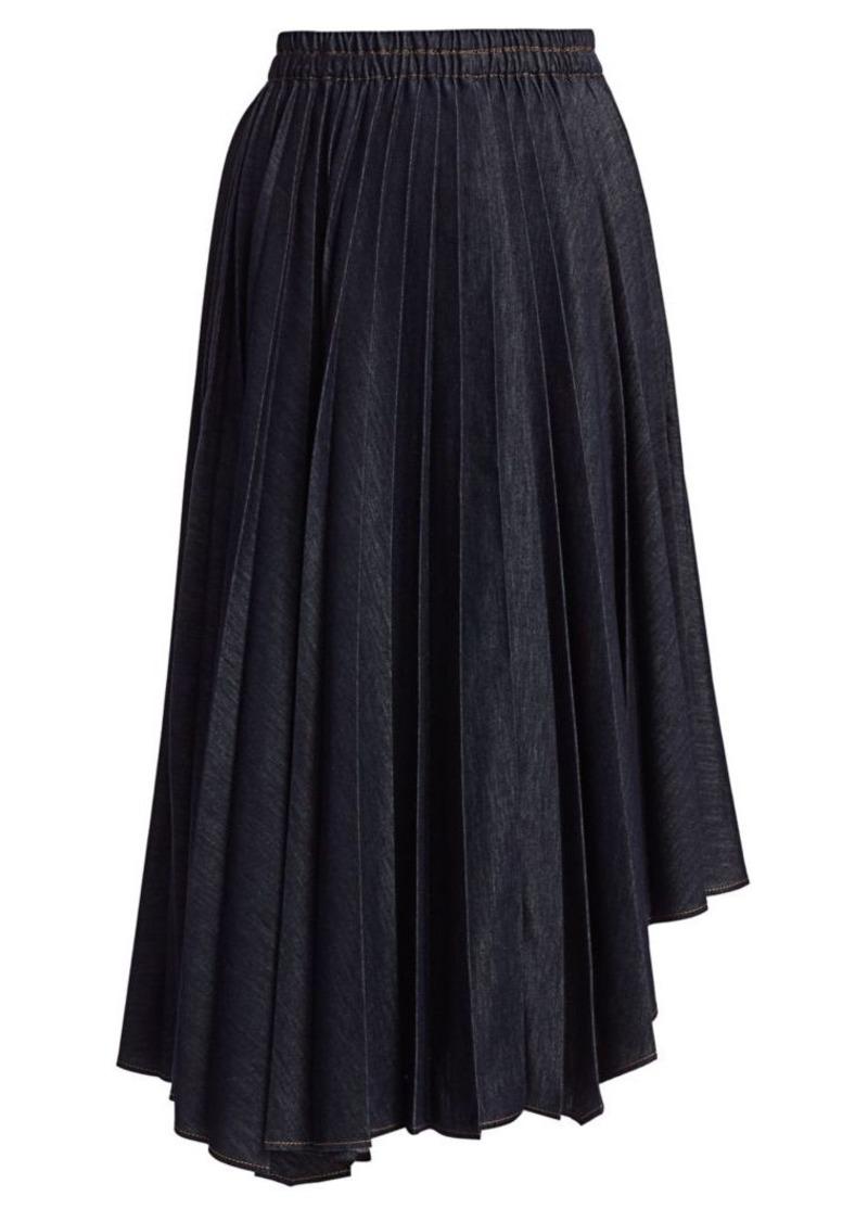 Brunello Cucinelli Asymmetric Pleated Denim Skirt