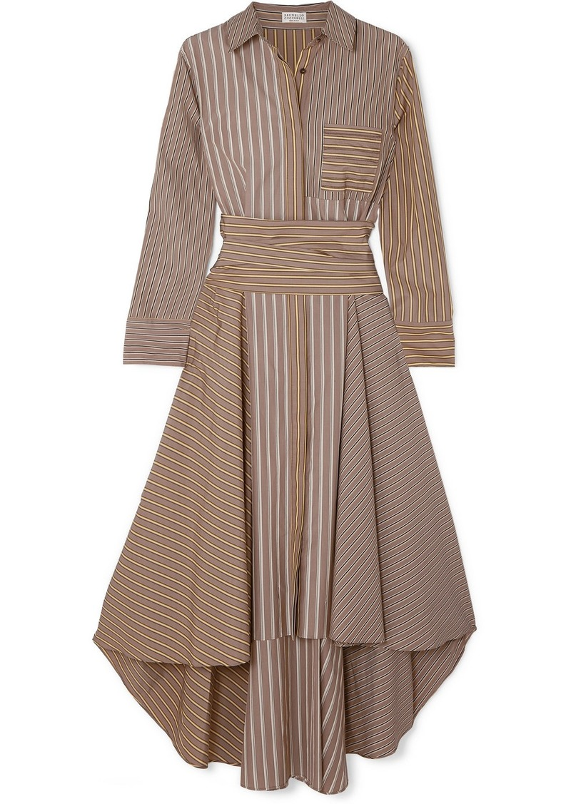Brunello Cucinelli Asymmetric Striped Cotton-poplin Dress