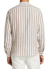 Brunello Cucinelli Banded Collar Striped Linen Sport Shirt