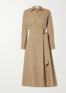 Brunello Cucinelli Bead-embellished Cotton-poplin Wrap Shirt Dress