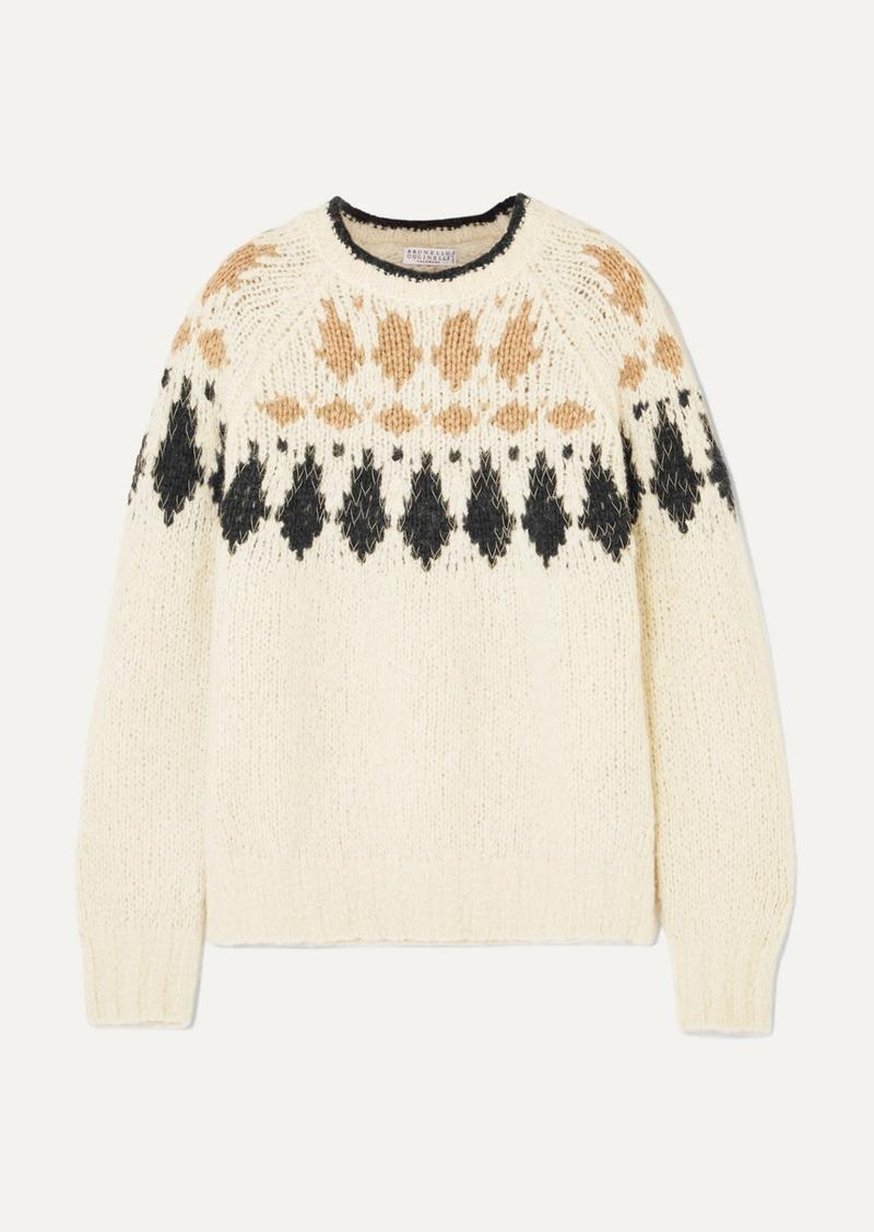 Brunello Cucinelli Bead-embellished Intarsia Alpaca-blend Sweater