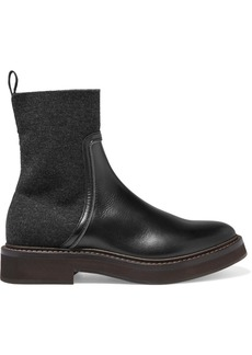 Brunello Cucinelli Bead-embellished Leather And Cashmere Chelsea Boots