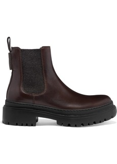 Brunello Cucinelli Bead-embellished Leather Chelsea Boots