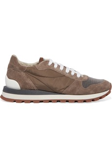 Brunello Cucinelli Bead-embellished Nylon, Suede And Leather Sneakers