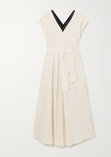 Brunello Cucinelli Bead-embellished Pinstriped Stretch-cotton Poplin Midi Dress