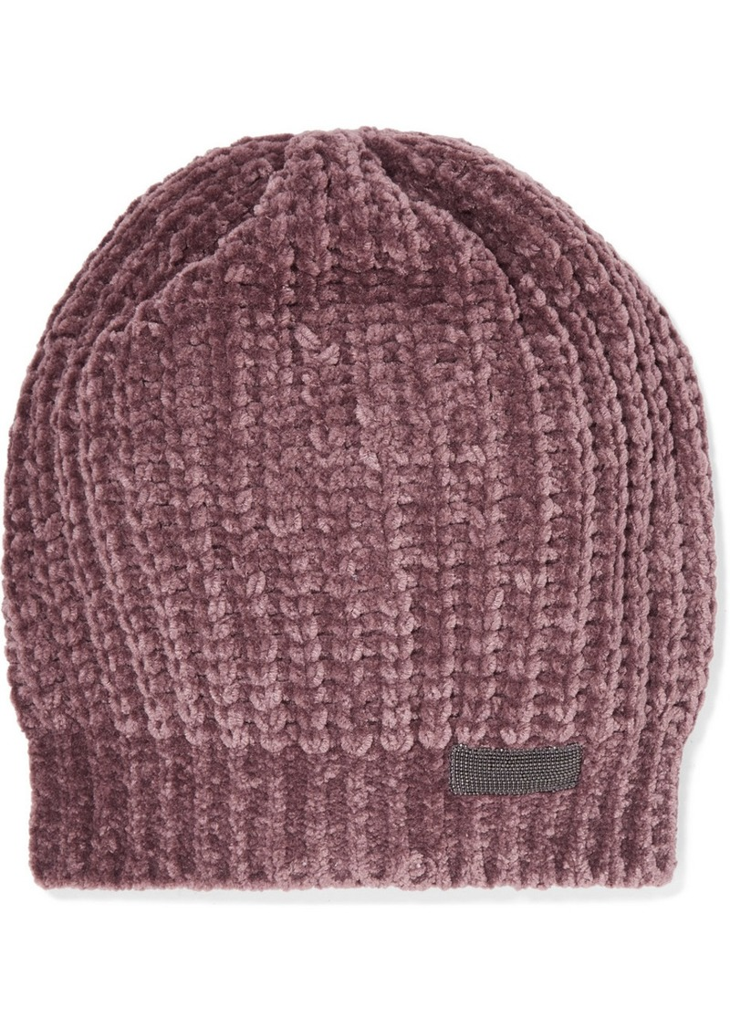 cdf39be1bf8 Brunello Cucinelli Bead-embellished Ribbed Cashmere-blend Beanie ...