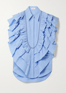 Brunello Cucinelli Bead-embellished Ruffled Cotton-poplin Top