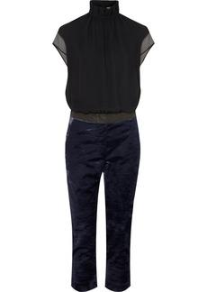 Brunello Cucinelli Bead-embellished Silk-chiffon And Velvet Jumpsuit